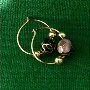 Vintage gold cloisonne enamel floral earrings